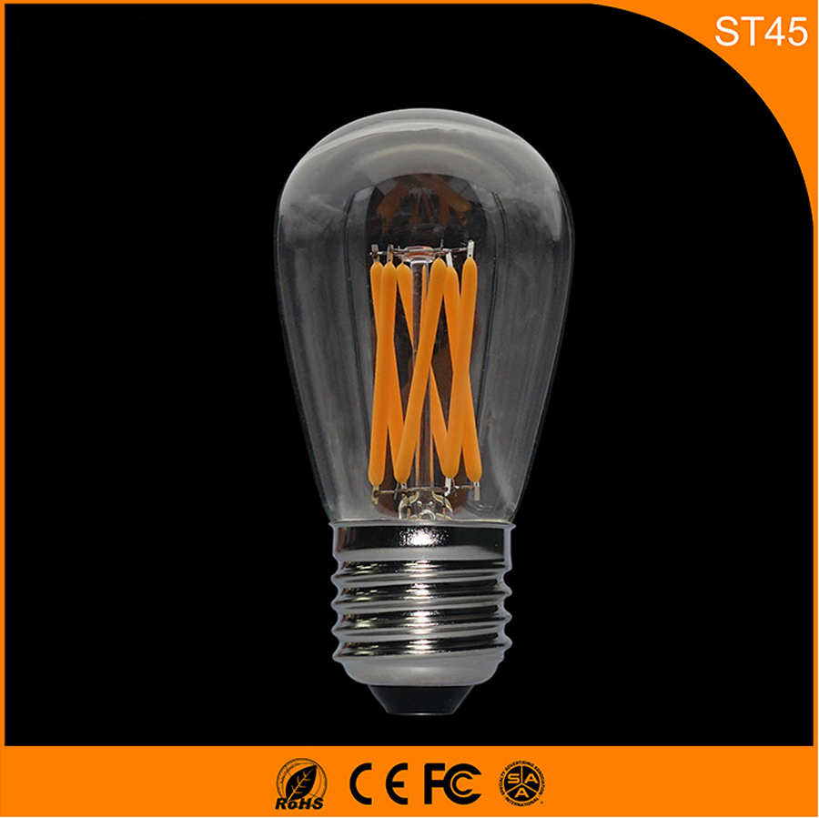 50PCS E27 B22 LED Bulb Retro Vintage Edison ,ST45 3W Led Filament Glass Light Lamp, Warm White Energy Saving Lamps Light AC220V 5pcs e27 led bulb 2w 4w 6w vintage cold white warm white edison lamp g45 led filament decorative bulb ac 220v 240v