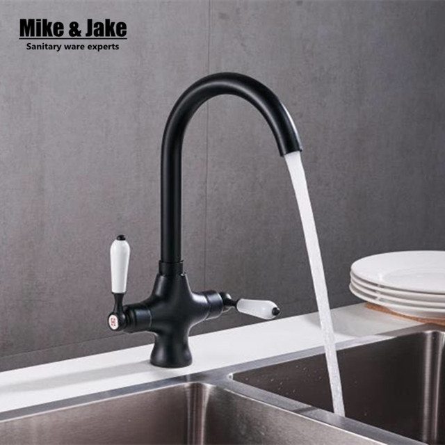 Zwarte Kraan Keuken.Zwarte Verf Dubbele Handvat Keukenmengkraan Dek Keukenkraan Sink