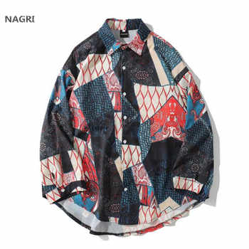 Japanese Streetwear Ukiyo E Geometry Patchwork Long Sleeve Shirts 2019 Hiphop Casual 3D Printed Hawaiian Autumn Spring Shirt Men - DISCOUNT ITEM  50% OFF All Category