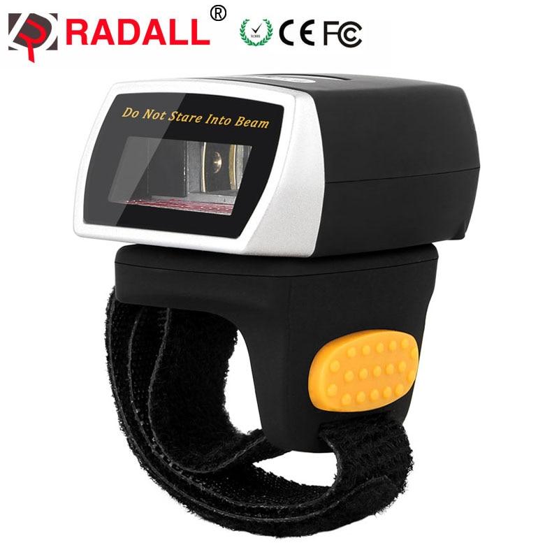 RADALL RD-R2 Drahtloser Barcode-Scanner mit Bluetooth Tragbarer Fingerring-Barcode-Scanner 32-Bit-Long-Range Tragbarer Scanner