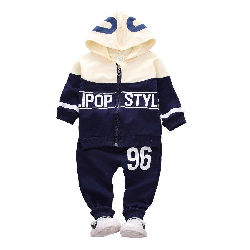 Spring Autumn Children Cotton Tracksuit Baby Boys Girls Zipper Hoodies Pants 2 Pcs/sets Infant Fashion Twinset Toddler Clothes