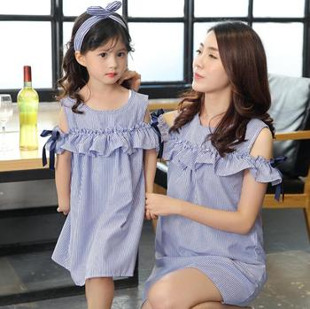 Ruffled Dress Mommy and Me Clothes Striped Mother Daughter Dresses Family Matching Outfits Off Shoulder Mom and Girls Dress Look