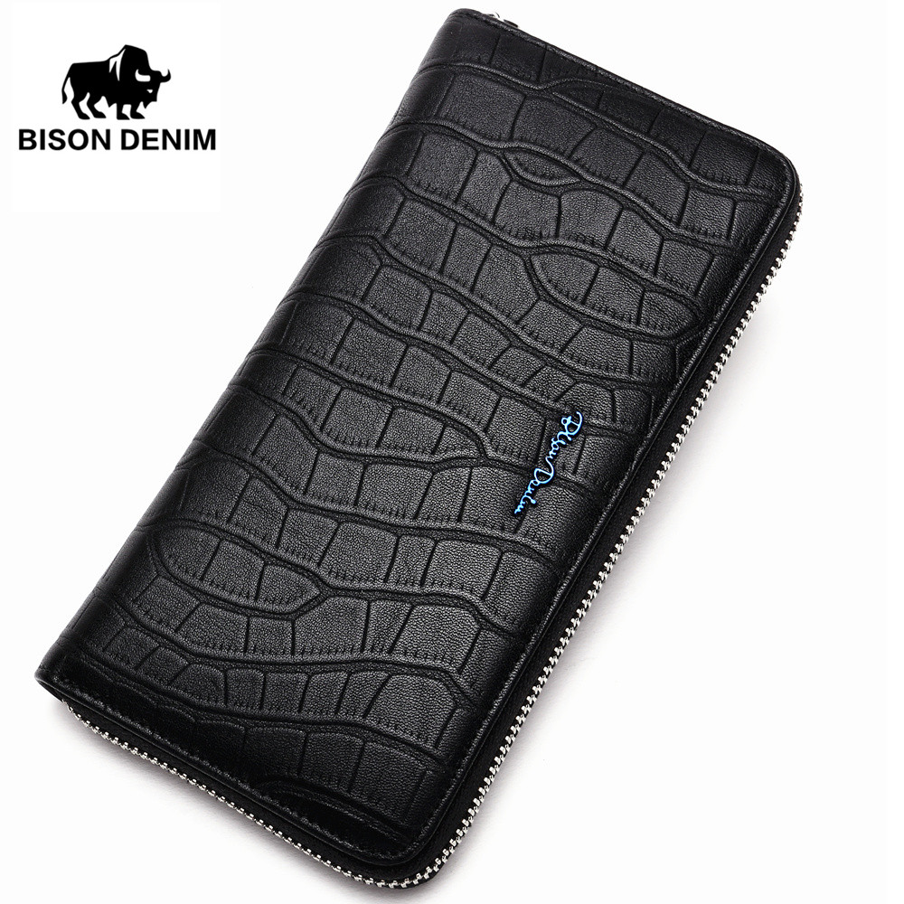 BISON DENIM Fashion Genuine Leather Men's Wallet Alligator Pattern Long Wallet Male Large Capacity Phone Clutch Zipper Wallet zuoyi crocodile leather original zipper snap multifunctional in large capacity and long wallet