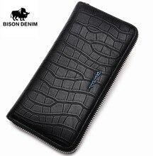 BISON DENIM Fashion Echtes Leder Herrenbrieftasche Alligator Muster Lange Brieftasche Männlichen Große Kapazität Telefon Clutch Reißverschluss Geldbörse