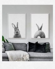 nordic Animal Rabbit Tail Canvas wall Art Print Poster,Nursery Bunny Canvas Painting living room picture(China)