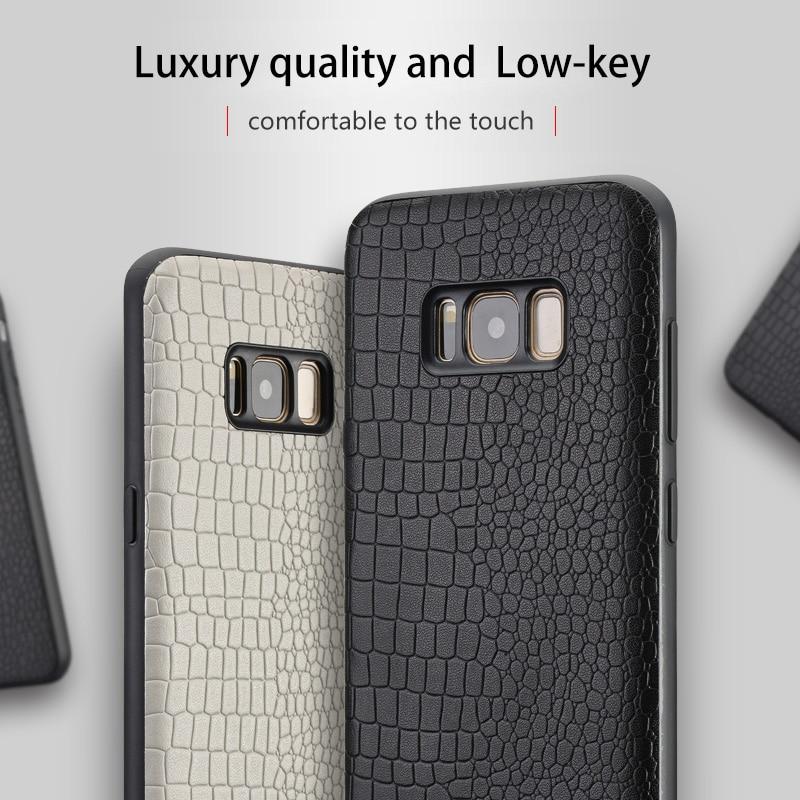 Étuis de téléphone en cuir véritable Pour Samsung S8 S9 Plus étui Crocodile texture coque Souple tout compris ForA3 A5 A7 a8 J3 J5 J7 couverture