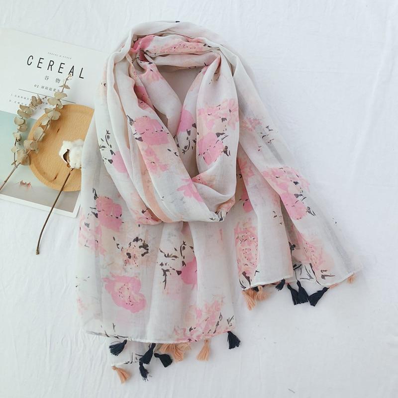 Hijabs   scarf     Wraps   Pashmina Stole Muslim Sjaal women's autumn summer Japanese style sweet long print neck   scarf   muffler