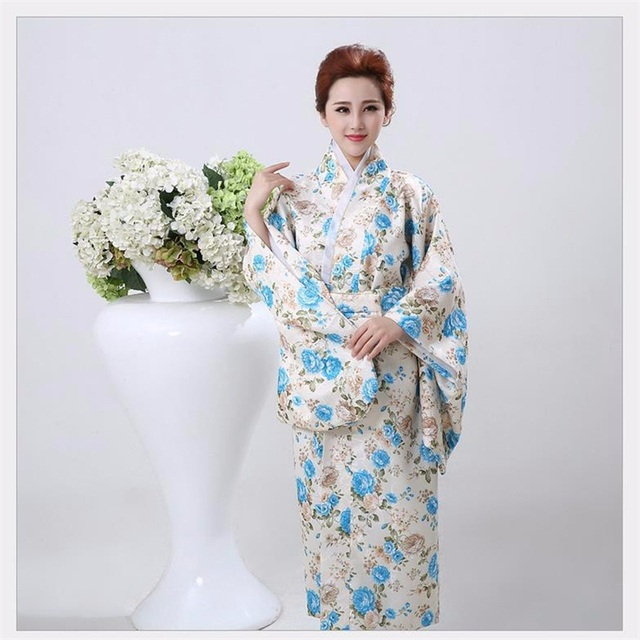 Yüksek Moda Yenilik Kadın Yukata Kimono Ile Obi Vintage Japon Tarzı Balo Elbise Performans Dans Kostüm Bir Boyut