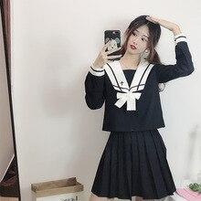 Cross Japanese Sailor Suit Female Student School Uniform JK Uniform Pleated Skirt College Set Women Cosplay