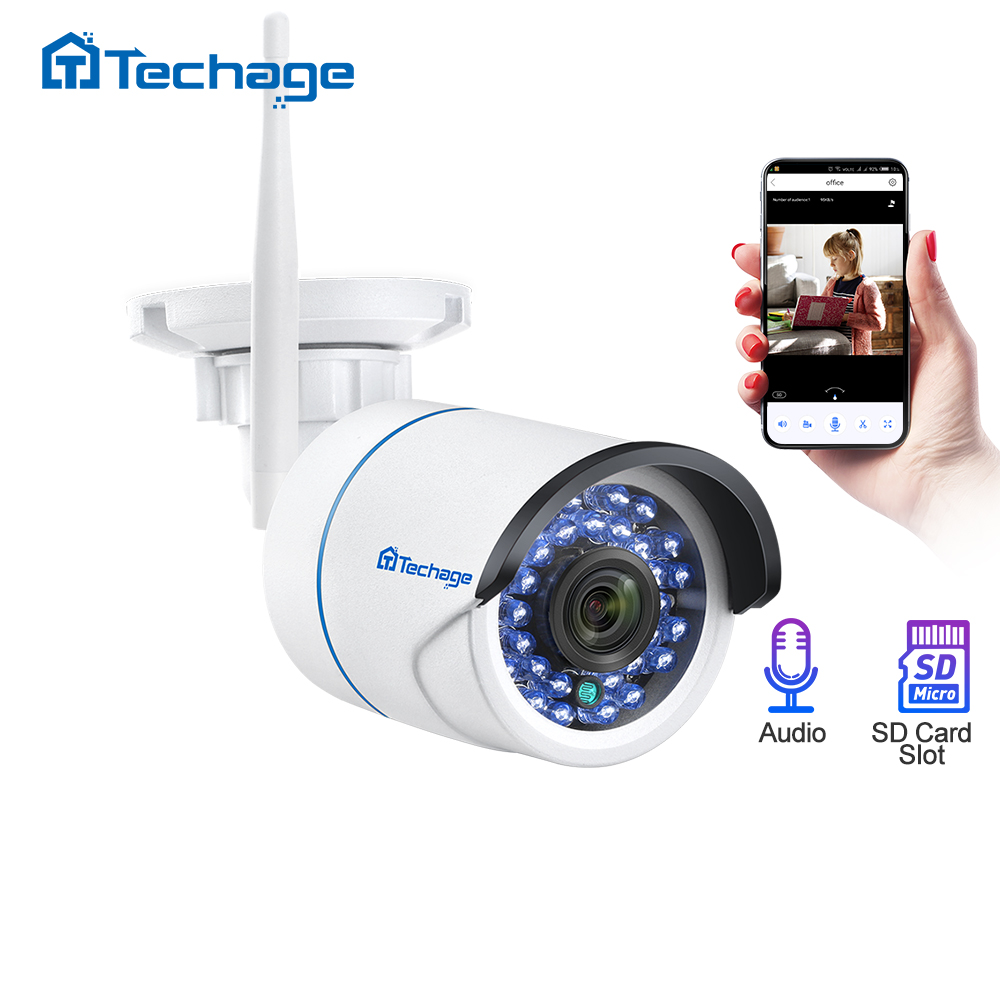 Techage 1080P 2MP Wireless Camera Security Audio Wifi IP Camera IR Outdoor Waterproof P2P Onvif TF Card CCTV Video Surveillance