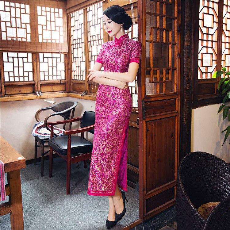 Arrivée Nouvelle Style Xl hot Xxl Dentelle Qipao À Taille L Rose vert Mode 23621c Xxxl Femmes Pink Long Bleu Élégante M De Chinois Cheongsam Robe S Chaude dhrtsQ