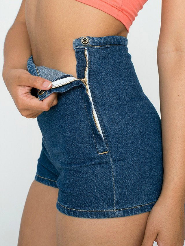 Hot Summer Women Slim High Waist Jeans Denim Tap Short Hot Shorts Tight A Side Button Invisible Zipper Sexy Shorts