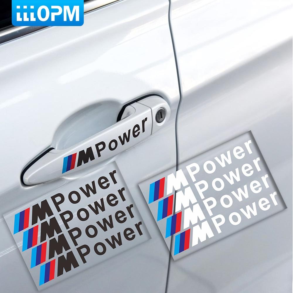 Car styling 4PCS M Power Car Decal Door Handle Auto Stickers Decoration for BMW Covers M3 M5 X1 X3 X5 X6 E36 E39 E46 E30 E60 E90