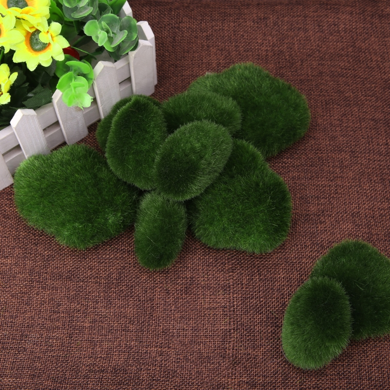 10pcs Green Artificial Moss Stones Grass Plant Poted Home Garden Decor Landscape ...