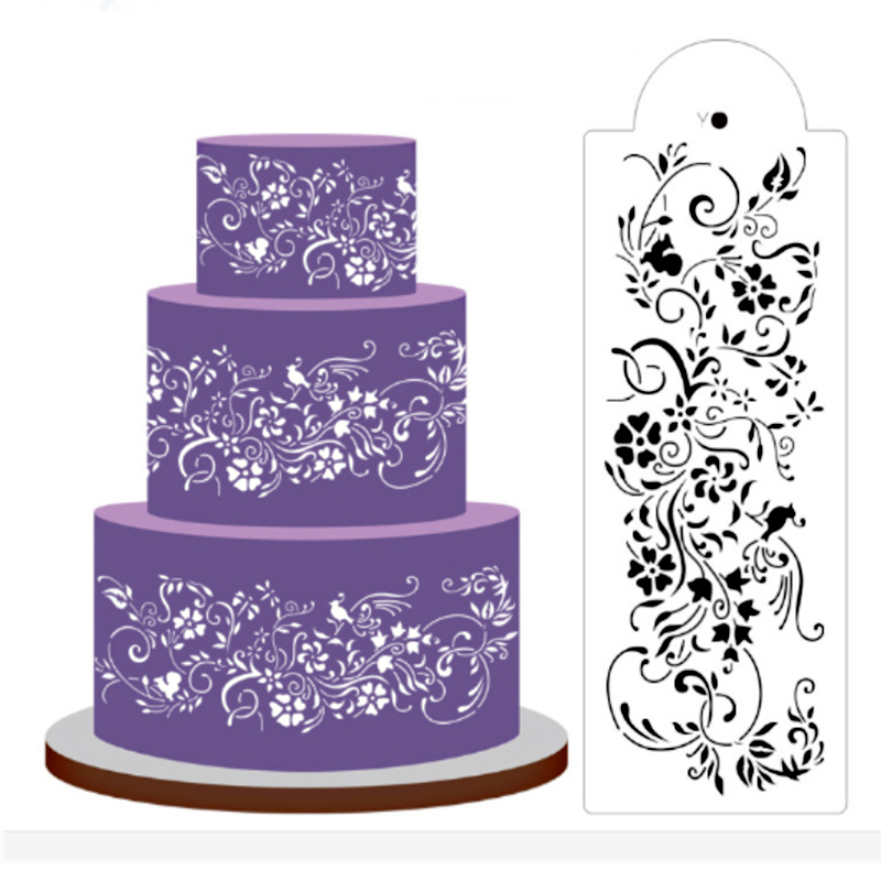 New Fancy Embossing Cake 3D Spray Pattern Mold Dessert Decoration Plastic Fondant Hollow Template Baking Accessories