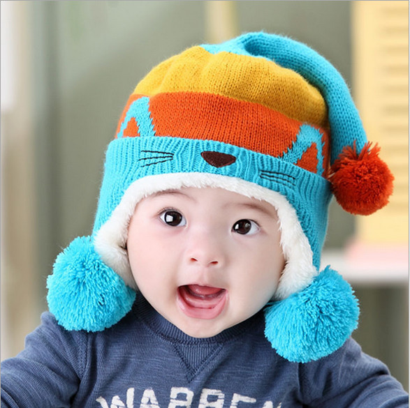 2016 winter Korean version new baby boy hat cute cat design newborn kids hat  colorful baby girl winter hat baby hedging cap 3b2dd79489d