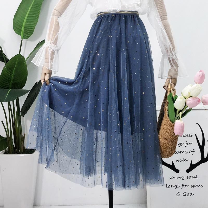 Harajuku Mesh Tulle long skirts steampunk summer 2019 kawaii skirts plus size high waist chiffon skirt korean transparent skirt in Skirts from Women 39 s Clothing