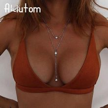 ALIUTOM Charm Multilayer Long Tassel Chain Necklace Charming Women Gold Color Boho Beach Sexy Body Jewelry Crystal Pendant Nec(China)