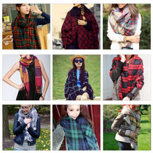 Lady Women Winter Large Blanket Oversized Shawl Plaid Check Tartan Scarf Wrap