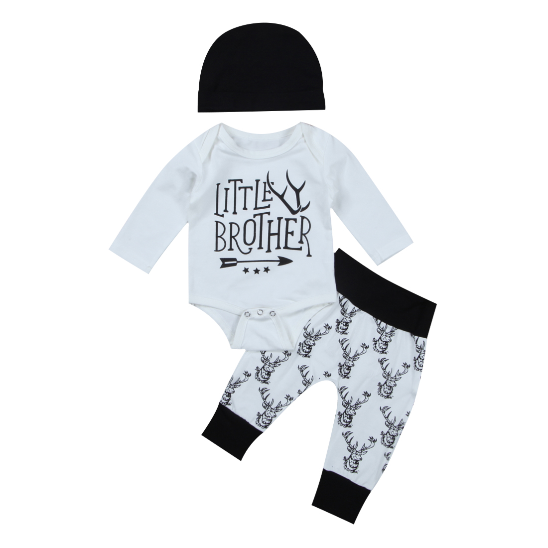 Pudcoco Newborn Baby Boys Deer Little Man Romper Christmas Deer Black Pants Leggings Outfits Set Clothes 3pcs 0-18M