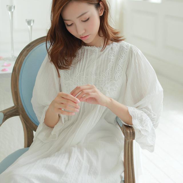 Ropa de dormir de algodón de las mujeres de la manera real de cosecha de encaje camisón salón camisón de la princesa ropa de dormir