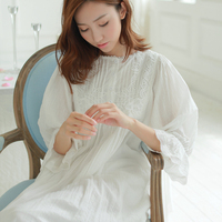 women's cotton sleepwear fashion royal vintage lace nightdress princess nightgown lounge nightwear 0121