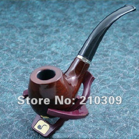 Free shipping 1pcs Fashion Wooden Pipe Tobacco Smoking Pipes - send leather and pipe rack in stock