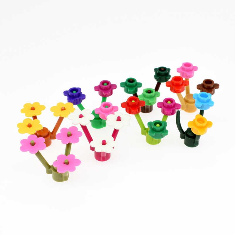 10 pçs/set Legoings Mini Arbusto Árvore Planta Grama Arbusto Braços de Blocos de Construção de Armas Militares MOC Acessório DIY Brinquedos Para As Crianças