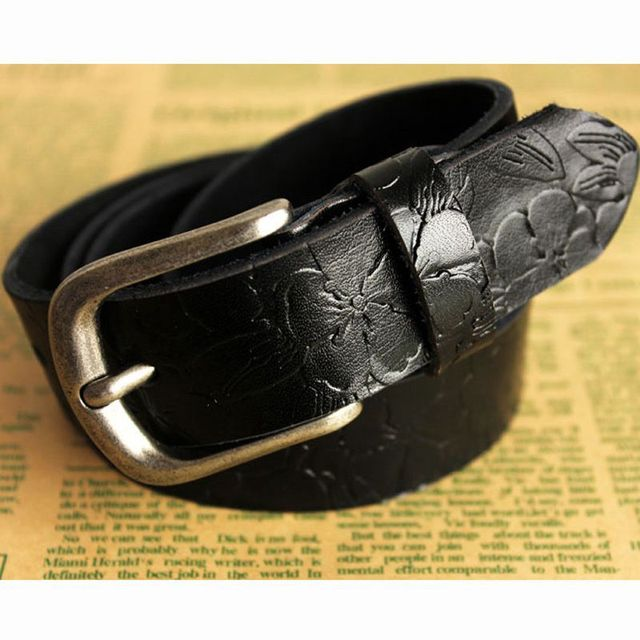 Womens Brand Luxury Fashion stretchy printing Genuine Leather Wide The Golden Color Buckle Belts Length 100~120cm Wholesale