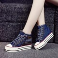 Free shipping 2016 autumn Rivets height increasing sneakers women canvas shoes