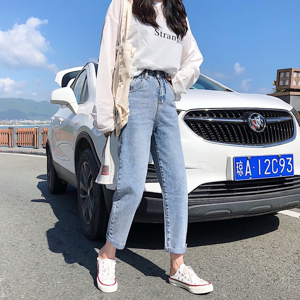 S-XL 3 colors 2019 spring korean chic style high waist loose female   jeans   straight roll up denim pants womens (Z8551)