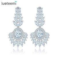 Teemi Wholesale Luxury 2015 New Design Exaggerated Latest Tops Fashion Long Big White CZ Earrings Women
