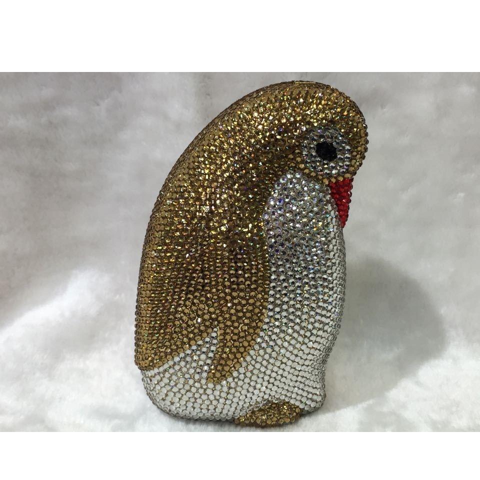 ФОТО GOLD Crystal 3D - Penguin animal Wedding Bridal Party Night Metal Evening purse clutch bag case handbag