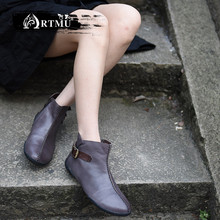 Artmu Original Winter Boots New Flat Sole Ankle Genuine Leather Personality Simplified Cowhide Cotton 258-18