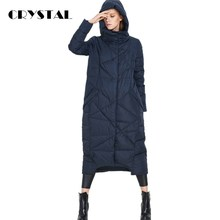 CRYSTAL-European Fashion 2016 Winter Jacket Women W/ Hood X-Long Down Coat Thickening Thermal Super Warm Down Coat Plus Size