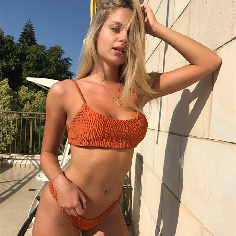 2018 Hot sling bikini solid color women swimwear bikini set swimsuit Very cheeky brazilian bottom Maillot De Bain thong Bikinis