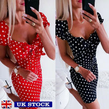 Women Boho Polka Dot Sexy Bodycon Mini Dress Summer Holiday Sundress Beachwear New