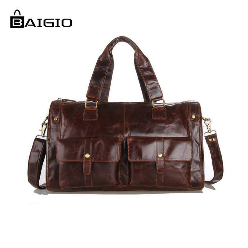 Baigio Men's Leather Travel Bag Vintage Brown Best Designer Hand ...