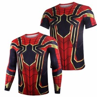 Avengers Infinity War Iron Spiderman T Shirt Cosplay Peter Parker Superhero Spiderman Tee Shirts Man Tops