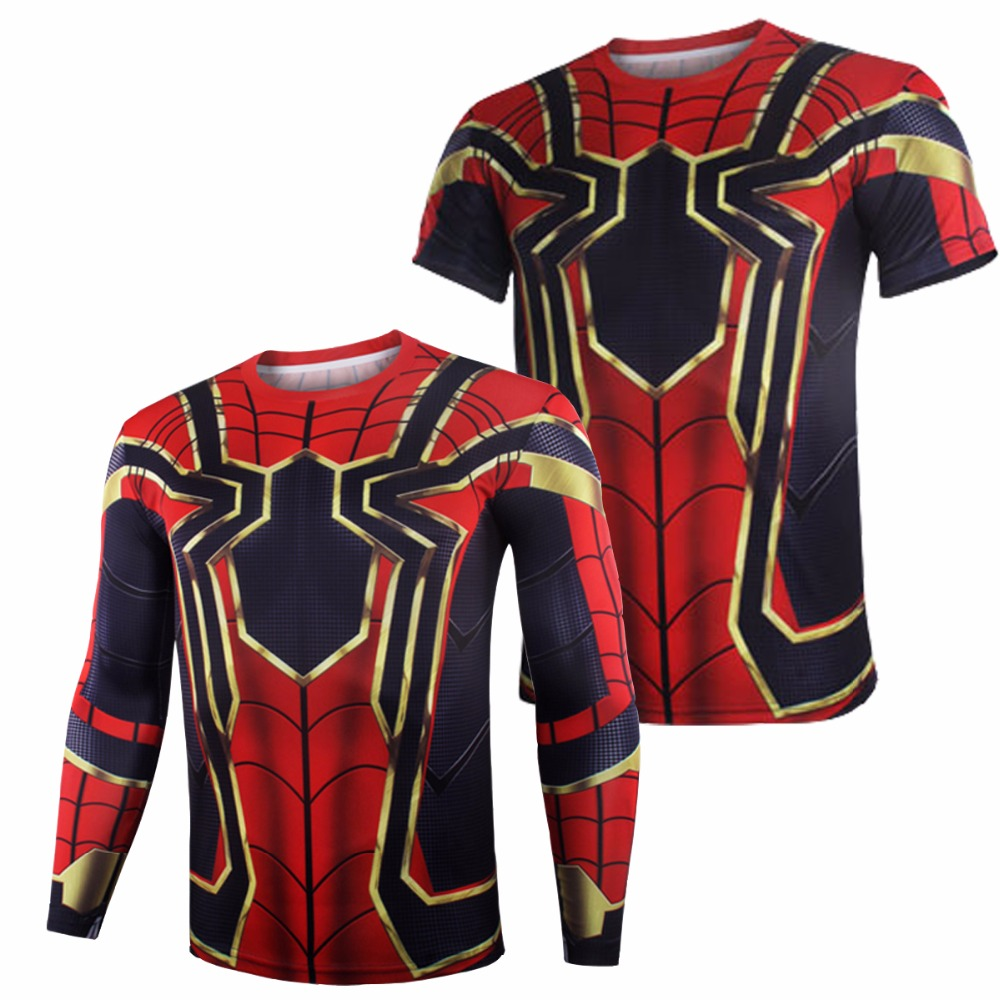 Avengers Infinity War Iron Spiderman T shirt Cosplay Peter Parker Superhero Spiderman Tee Shirts Man Tops costumes NEW Drop ship