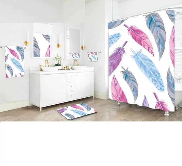 Polyester Waterproof Mildewproof Colour Feather Shower Curtain Included Bath Mat And Wipe Cloth Match