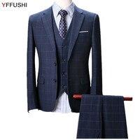 YFFUSHI Men Suit Classic Plaid Navy Wine Red Suits 3 Pieces Wedding Suits For Men Business