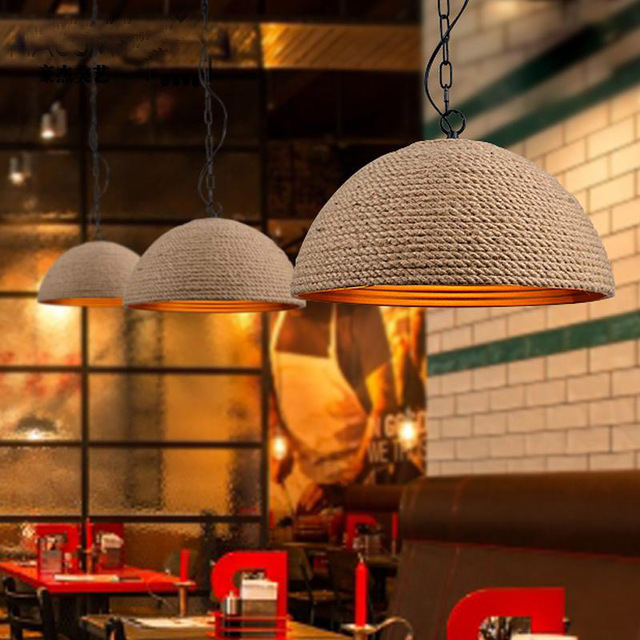 American country Vintage iron rope creative art Restaurant Bar garden bar lamp chandelier personality vintage chinese country creative