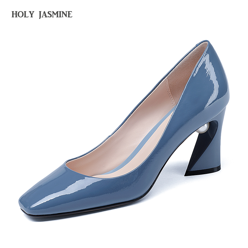 2018 Autumn New Genuine Leather Slip-On Pumps Square Heel Beige High Quality Cow Leather Square Toe Elegant Party Shoes Women 2017 genuine leather platform women pumps slip on square high quality shoes woman summer autumn dess party pumps plus size 34 43