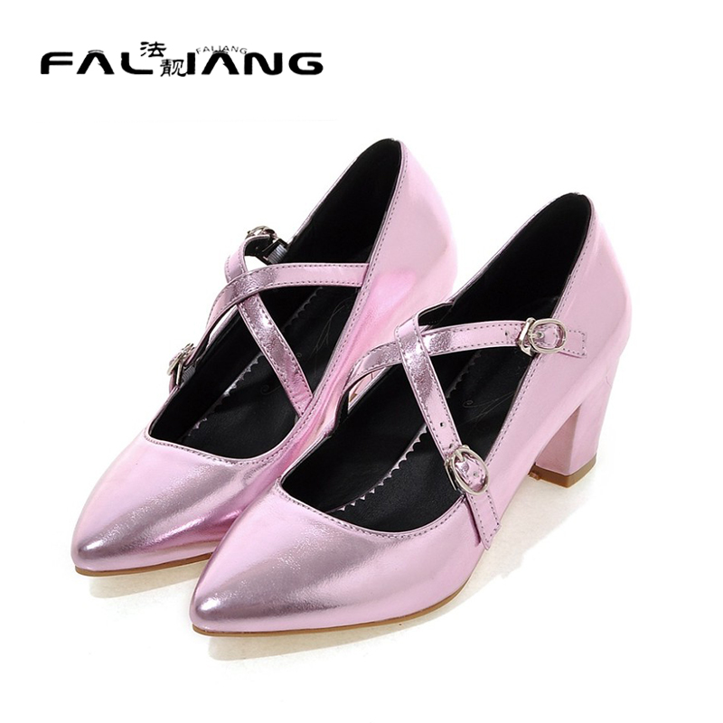 New 2016 pointed toe pumps women shoes thick heel purple wedding shoes woman high heels summer
