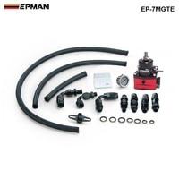 EPMAN Racing Adjustable Fuel Pressure Regulator Gauge Kit BLACK BLACK Fittings With Oil Line EP 7MGTE