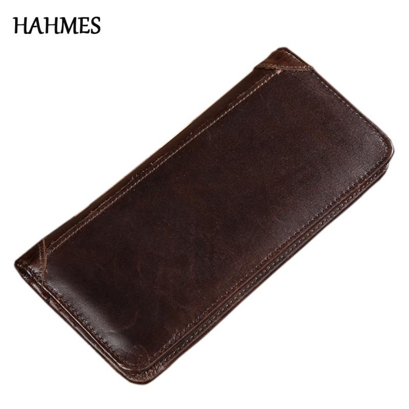 Lange vintage portemonnee mannen echt leer mannelijke portemonnee - Portemonnees en portefeuilles