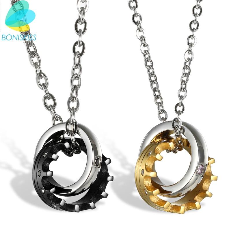 befb68fb03b6 Boniskiss moda amantes de la joyería de acero inoxidable collar pareja Colgantes  mujeres hombres cadena amor corona Collares novia regalos