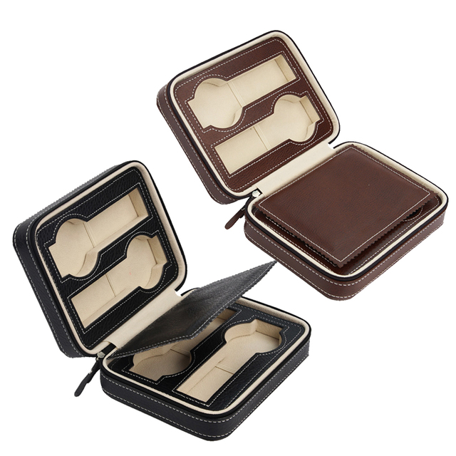 Us 38 27 2 Pieces 4 Slots Faux Leather Watch Travel Case Collector Storage Zipper Box In Jewelry Packaging Display From Jewelry Accessories On