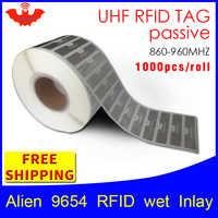 Etiqueta Adhesiva UHF RFID Alien 9654 EPC6C incrustaciones húmedas hihiggs3 1000 piezas envío gratis etiqueta adhesiva pasiva RFID